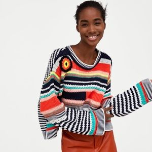 ZARA Multicolored Crochet Sweater